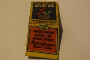 RCA Victor Magic Brain Magic Eye Metal Tubes 20 Strike Matchbook Cover