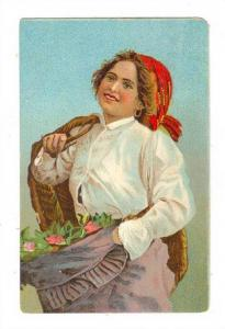 Woman Holding A Basket & Flowers,  Italy , 1900-1910s