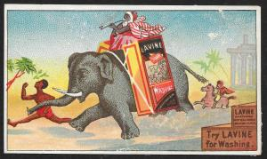 VICTORIAN TRADE CARD Lavine Soap Elephant & Old Egyptian Rider
