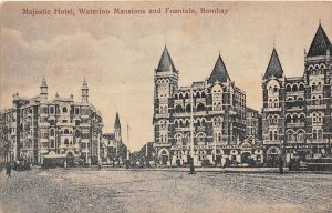 India, Bombay, Majestic Hotel, Waterloo Mansions and Fountain