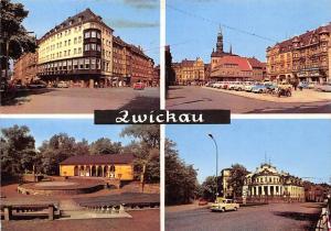 Zwickau, Ringkaffee Markt Freilichtbuehne Milchbar Auto Vintage Car Motorcycles