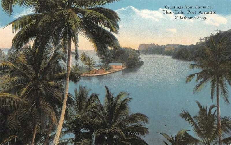 JAMAICA Blue-Hole, Port Antonio Palm Trees c1910s Vintage Postcard