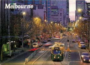Australia Melbourne street view tramway automobiles Air Mail via Cluj 1989