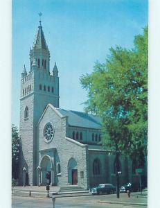 Unused 1950's OLD CARS & CHURCH SCENE Concord New Hampshire NH p4002
