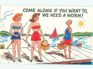 Pre-1980 Risque Comic SEXY GIRLS WITH FISHING RODS AB6940