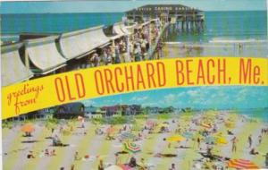 Greetings From Old Orchard Beach Maine Showing Beach and Casino 1964