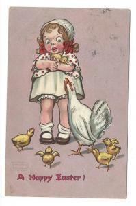 Gassaway Happy Easter Girl with Chicks and Hen Vntg Postcard
