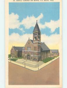 Unused Linen CHURCH SCENE Des Moines Iowa IA p4684