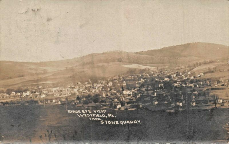 WESTFIELD PENNSYLVANIA-BIRDS EYE VIEW-TOWN FROM STONE QUARRY-REAL PHOTO POSTCARD