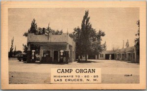 Las Cruces, New Mexico Postcard CAMP ORGAN MOTEL Gas Station Route 70 Roadside