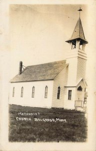 '07 RPPC Real Photo, Methodist, M.E. Church, Belgrade, MN,Old Postcard