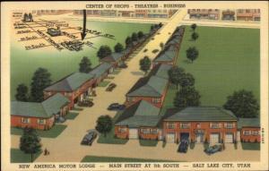 Salt Lake City UT New America Motor Lodge Linen Postcard