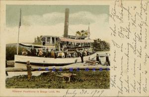 1909 Songo Lock Maine Postcard: Steamer Hawthorne Fully Loaded With Passengers