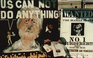 Vintage Postcard Reading Newspaper Imprisoned 50 Americans Behind Carter Poster