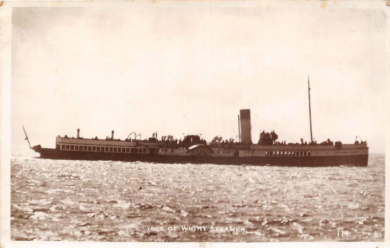 uk40307 isle of wight steamer real photo  uk navy ship sail