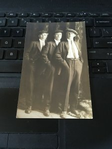 Antique Photo Postcard RPPC-  3 Strapping Young Lads Boys in Suits