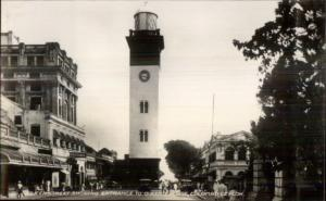 Colombo Ceylon Queen Street & Lighthouse Real Photo Postcard