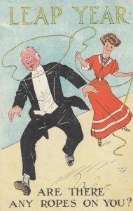 LEAP YEAR , 1908 ; Woman ropes a man