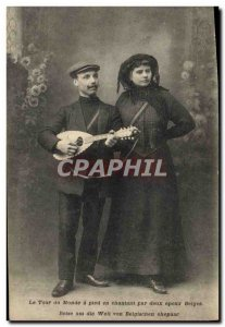 Old Postcard Globe Trotters Globe-Trotters World Tour on foot singing by two ...