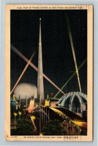 1939 New York World's Fair - Trylon & Perisphere, Empire State Bridge Postcard