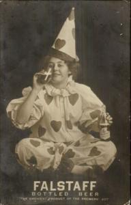 Lemp Brewery St. Louis MO Falstaff Beer Woman as Clown Drinking RPPC gfz