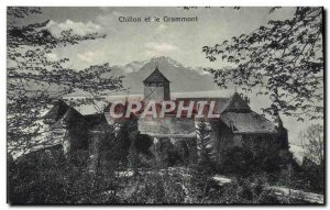 Old Postcard Chillon and the Grammont