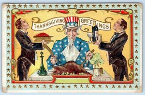 UNCLE SAM THANKSGIVING GREETINGS TURKEY PATRIOTIC EMBOSSED BUTLER WINE WAITER