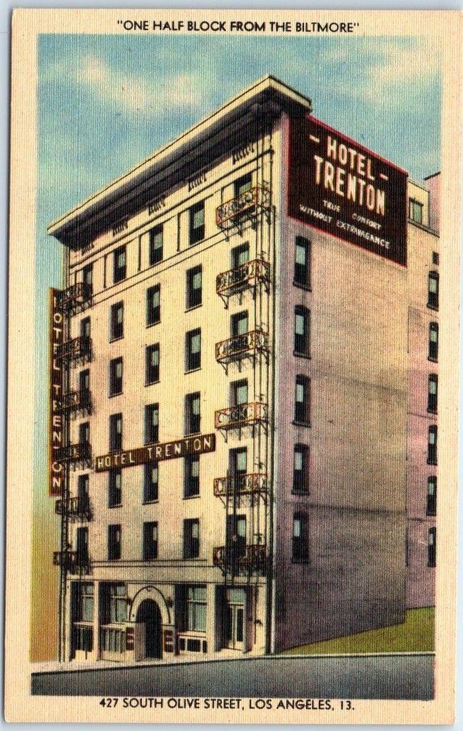 los angeles ca postcard hotel trenton 427 so olive street. Black Bedroom Furniture Sets. Home Design Ideas