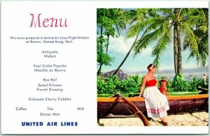 1950s UNITED AIR LINES In-Flight Menu Postcard Hawaii Waikiki Beach Scene Canoe
