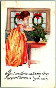 Vintage 1914 CHRISTMAS Embossed Postcard Mid Mistletoe and Holly Berry… Pink