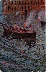Napoli Italy Pesca di Notte a Posillipo People Boat Night c1904 Postcard G82
