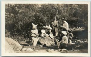 Vintage RPPC Real Photo Postcard Picnic / Outing in Park Ladies w/ Hats c1910s