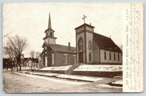 Anamosa Iowa~View on First Street~3 Churches in a Row~Winter Snow~1906 B&W PC