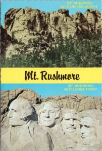 Mt Rushmore South Dakota SD Before & Today Multiview Unused Vintage Postcard D53
