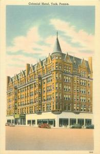 York, Pennsylvania PA Colonial Hotel in Continental Square Postcard, Old Cars