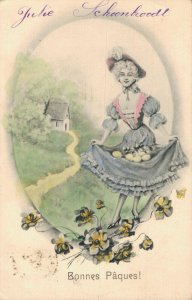 Happy Easter Lady And Flowers Hand Tinted 04.76