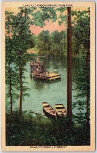 1948 Dawson Springs State Park, KY Postcard Swimming Dock Pennyrile Forest Linen