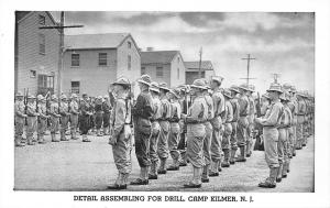 Camp Kilmer New Jersey~WWII Army Post~Detail Assembles for Drill~1940s B&W PC