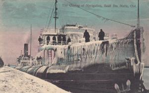 SAULT STE MARIE, Ontario, 00-10s; The Closing of Navigation, Iced over Ship