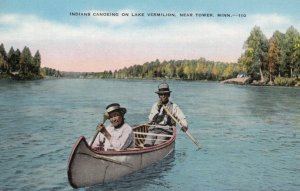 TOWER,Minnesota, 1930-1940s ; Indians canoeing on Lake Vermilion