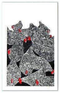 Chickens by J. Heath, Berkeley Springs, WV Postcard *6V(4)33