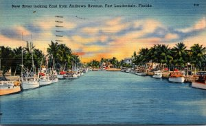 Florida Fort Lauderdale New River Looking East From Andrews Avenue 1948