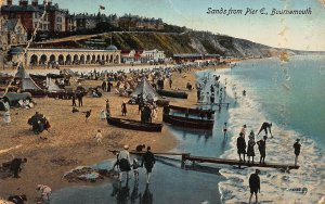 Bournemouth Sands from Pier Beach Boats Postcard