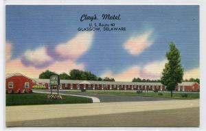 Clay's Motel US Route 40 Glasgow Delaware postcard