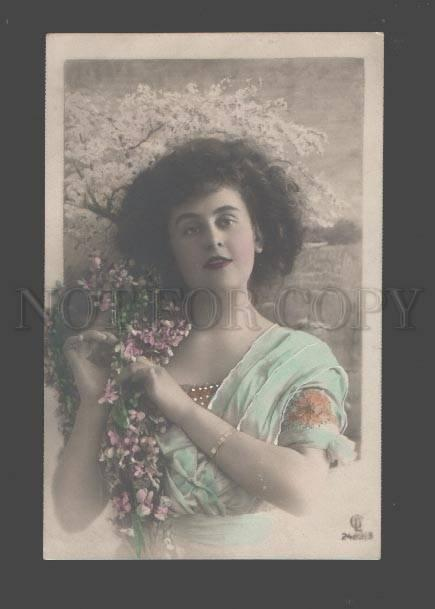 089415 BELLE Woman FAIRY in SPRING Flower Vintage PHOTO tinted