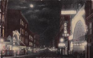 ST PAUL , Minnesota, 1915; 7th  Street at night