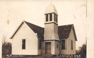 E40/ Clermont Indiana In Real Photo RPPC Postcard 1911 M.E. Church Building