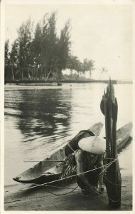 indonesia, MENTAWAI MENTAWEI, Native Fishing Woman with Gear & Boat (1920s) RPPC