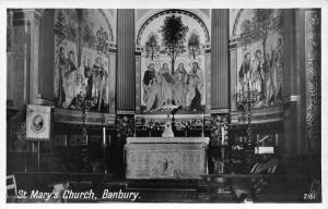 St Mary's Church Interior Altar Eglise Banbury Postcard