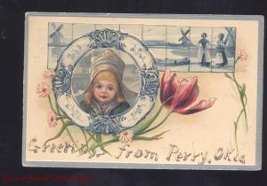 GREETINGS FROM PERRY OKLAHOMA PRETTY GIRL DUTCH CHILDREN VINTAGE POSTCARD